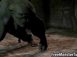 3D pet fucking an orc anally all over a strap-on