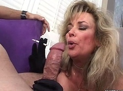 Off colour blonde mature smokes coupled with sucks cock